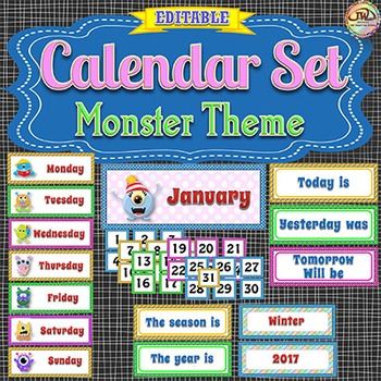 Monster Themed Calendar Card Set - Perfect for pocket charts