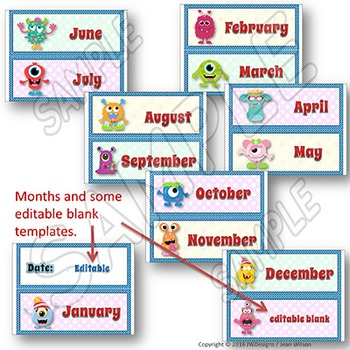 MONSTERS Themed Calendar Cards - complete 12 month set for student reference