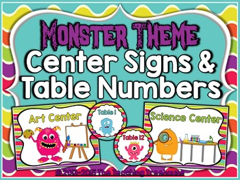 Monster Theme Center Signs & Table Numbers