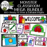 Monster Theme Classroom Decor Editable Bundle