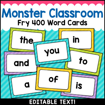 Monster Theme Classroom Decor Fry Word Wall Cards