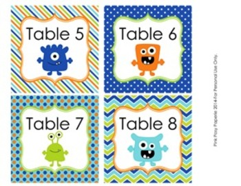 Monster Theme Classroom Decor Table Numbers