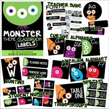 Monster Theme Classroom Labels - EDITABLE