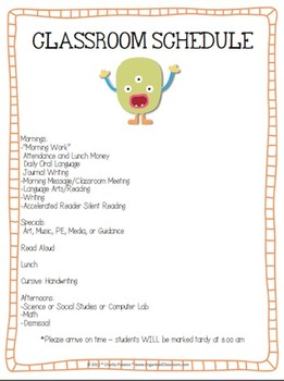 Monster Theme Classroom Parent Handbook
