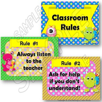 Classroom Rules Posters - Monster Themed - Customize with EDITABLE Slides