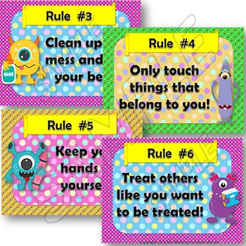 MONSTERS Classroom Rules Posters - EDITABLE - Wall Display or Bulletin Board