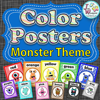 MONSTERS Themed Color Posters Classroom Decor and Reference, Plus Flash Cards