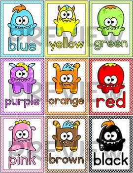 Colors Posters - Monster Theme Classroom Decor