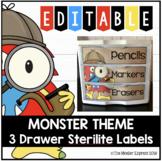 Monster Theme - Editable 3 Drawer Sterilite Labels
