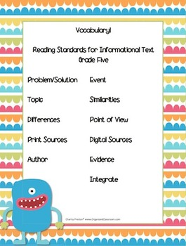 Monster Theme Grade Five CCSS Complete Vocabulary Program