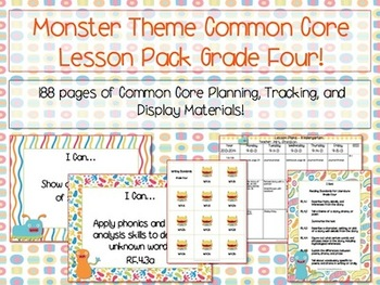 Monster Theme Grade Four Common Core Lesson Planning Pack