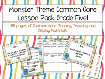 Monster Theme Grade Five Common Core Lesson Planning Pack