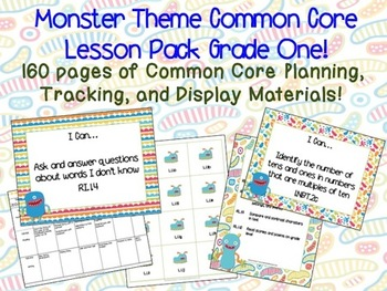 Monster Theme Grade One Common Core Lesson Planning Pack