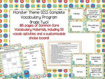 Monster Theme Grade Two CCSS Complete Vocabulary Program