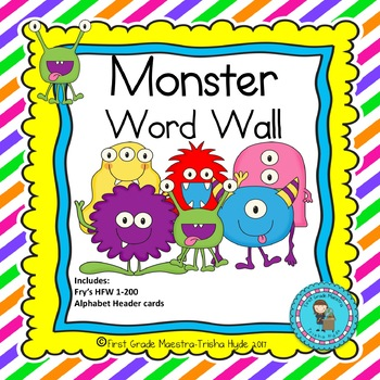 Monster Theme HFW Sight Word Word Wall Cards with Header Cards
