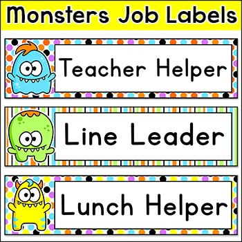 Monster Theme Classroom Jobs Labels