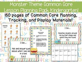 Monster Theme Kindergarten Common Core Lesson Planning Pack