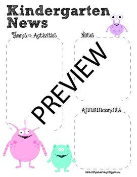 Monster Theme Kindergarten Newsletter Template