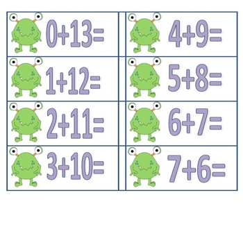 Monster Theme Addition/ Subtraction Facts