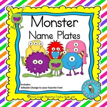 Monster Theme Name Plates Editable