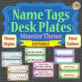 EDITABLE Name Tags / Desk Name Plates MONSTERS Themed Classroom Organization