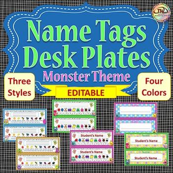 Name Tags Desk Name Plates Monster Themed EDITABLE