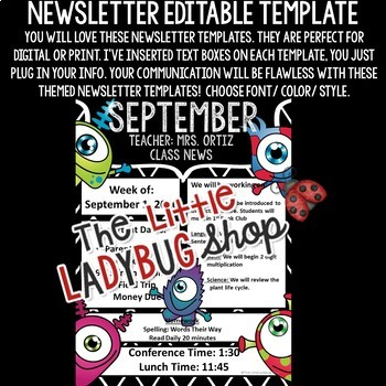 Monster Theme Classroom Monthly & Weekly Newsletter Template Editable