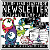 Monster Theme Classroom Monthly & Weekly Newsletter Templa