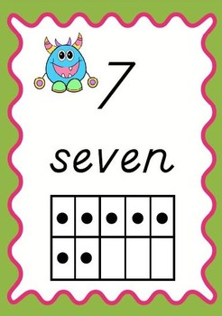 Monster Theme Number Posters With Ten Frames