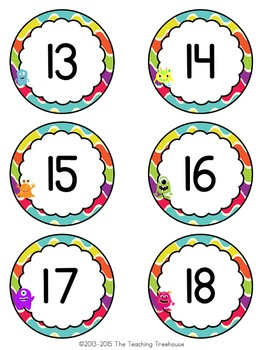 Monster Theme Numbers 1-120