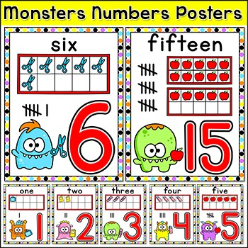 Monster Theme Numbers Posters