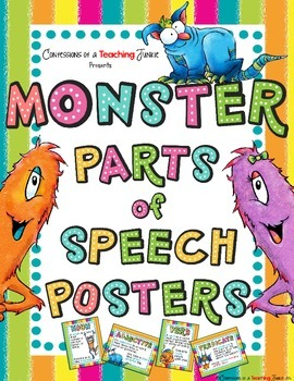 Monster Theme Parts of Speech Posters Set