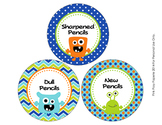 Monster Theme Pencil Caddy Labels