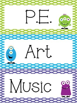 Monster Theme Polka Dot Classroom Decor Pack