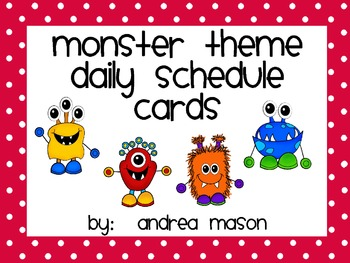 Monster Theme Polka Dot Daily Schedule Cards
