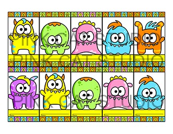 Monster Theme Punch Cards