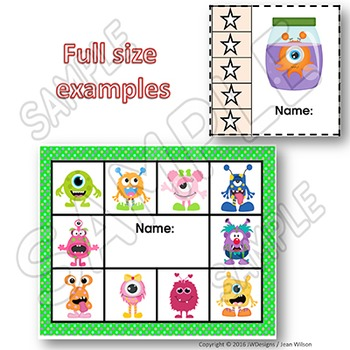MONSTERS Themed Punch Cards for Behavior Management and Goals / Tracking