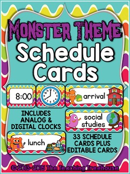 Monster Theme Schedule Cards