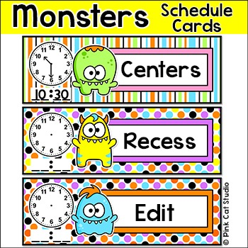 Schedule Cards - Monster Theme