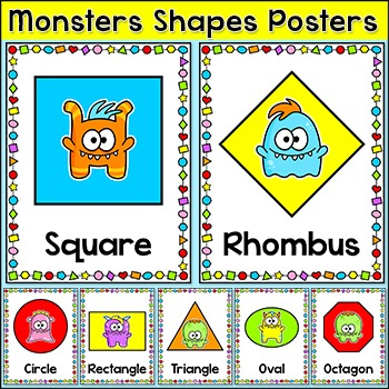 Monster Theme Shapes Posters