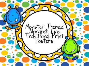 Monster Theme Traditional Print ABC Line