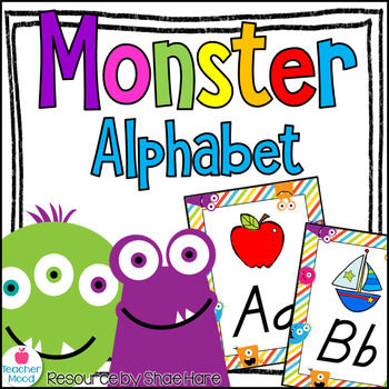 Monster Themed Alphabet Posters DNealian Font