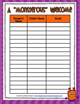 Monster Themed Back to School Parent Forms