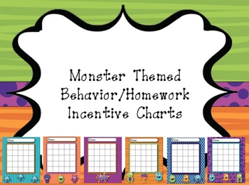 Monster Themed Behavior/Homework Incentive Chart
