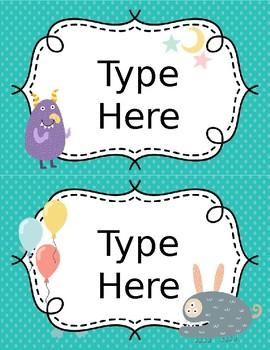 Monster Themed FREEBIE Labels - Small Asssortment