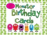 Monster Themed Birthday Cards