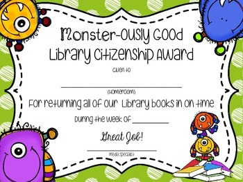 Monster Themed Book Return Reward Bulletin Board Set