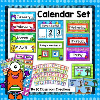 Monster Themed Calendar Set-Classroom Decor