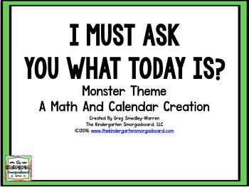 Monster Themed Calendar Set I Must Ask You What The Date Is?