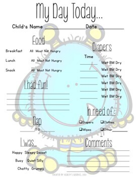 Monster Themed Childcare Daily Reports (Daycare)